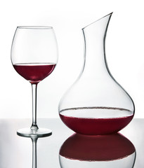 Red wine in wine glass and decanta