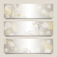 horizontal banners with flowers and lights