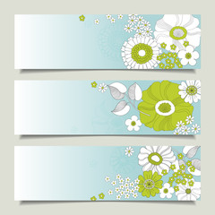 Horizontal banners with flowers