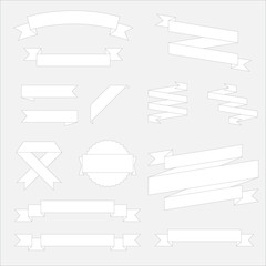 Ribbons set, white design, vector illustration