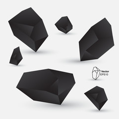 Abstract geometric shapes, black design element