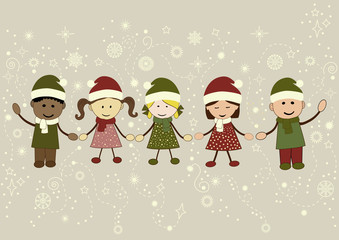 Christmas greeting card white kids