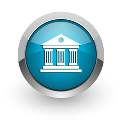 museum blue glossy web icon