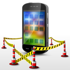 Smartphone located in restricted area with barrier tape