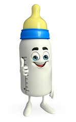 Baby Bottle character with thumps up pose