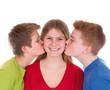 Küsschen von zwei Seiten