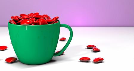 Tazza verde con cuori
