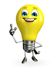 Light Bulb Character with pointing pose