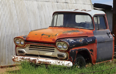 An Old Pickup Truck in a Junkyard