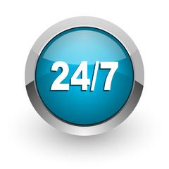 24/7 blue glossy web icon