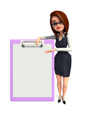 Young office girl with notepad