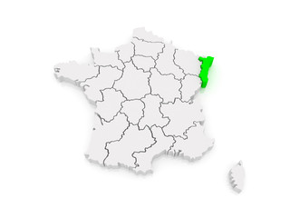Map of Alsace. France.