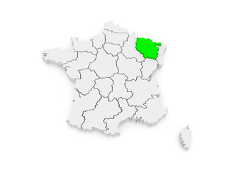 Map of Lorraine. France.