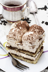 serving coffee cream cake called tiramisu