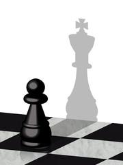 Pedina nera scacchi con ombra di re