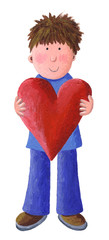 Little Boy Holding a Valentine Heart