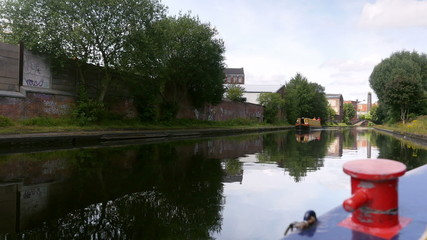 Birmingham canal, passing a barge.