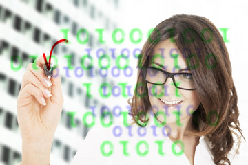 Business woman writing with black marker pen on virtual screen