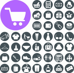 Shopping minimalistic simple icons.