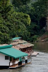 a raft  for river,kanjanaburi in thailand