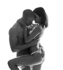 Couple passionately holding each other close