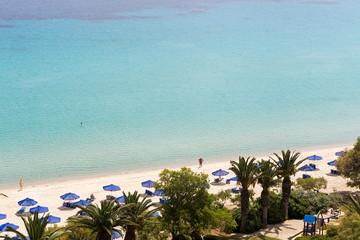 Kallithea sunny beach and summer resort at Kassandra of Halkidik