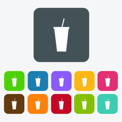 Glass of water icons. Rectangle colourful 12 buttons.