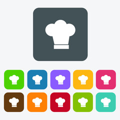 Chef icons set. Rectangle colourful 12 buttons.