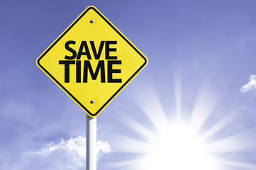 Save Time road sign with sun background