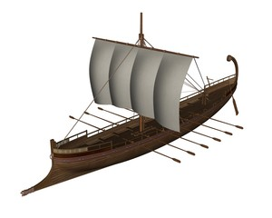 Ancient greek boat - 3D render