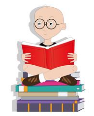 illustrazione di bambino con libri