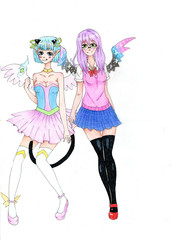 Two anime angel style girls isolated