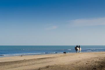 Coppia e cane a cavallo