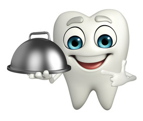 Teeth character with dish pan