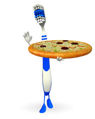 Toothbrush Character with pizza