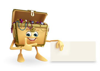 Treasure box character with sign