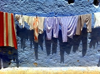 Tumble dry on the clothesline Chefchaouen, Morocco.