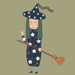 Angry witch with green hair and a broom on Halloween