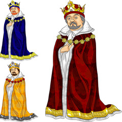 vector cartoon king in three colors