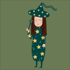 Funny witch with a magic wand on Halloween