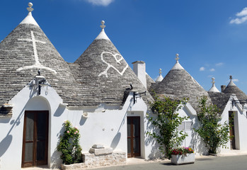 Typical trulli houses with conical roof in Apulia, Italy