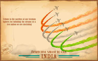 Airplane making Indian tricolor flag in sky