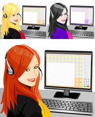 set of young beautiful girl telephone operator three color