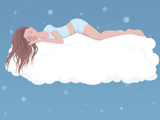 Woman sleeping on a cloud