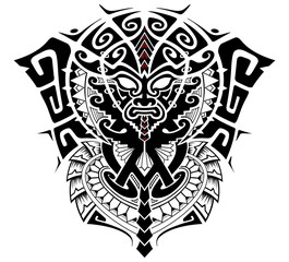 Tribal God with Alpha and Omega symbol vector illustration