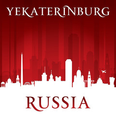 Yekaterinburg Russia city skyline silhouette red background