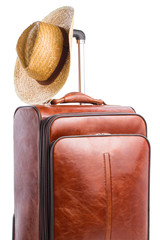 Suitcase and braided hat