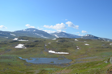marsh and lake in the mountains in Swedish Lapland