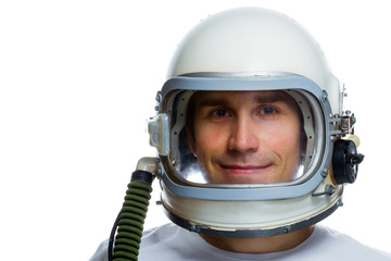 Young man wearing vintage space helmet