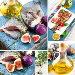Dorado fish with lemon and figs, Mediterranean cuisine